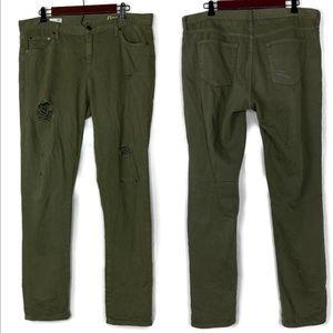 Gap Green Distressed Girlfriend Jeans Size 32 Tall